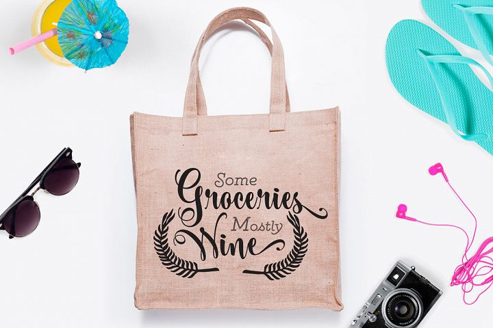 Some groceries mostly wine SVG Cut File