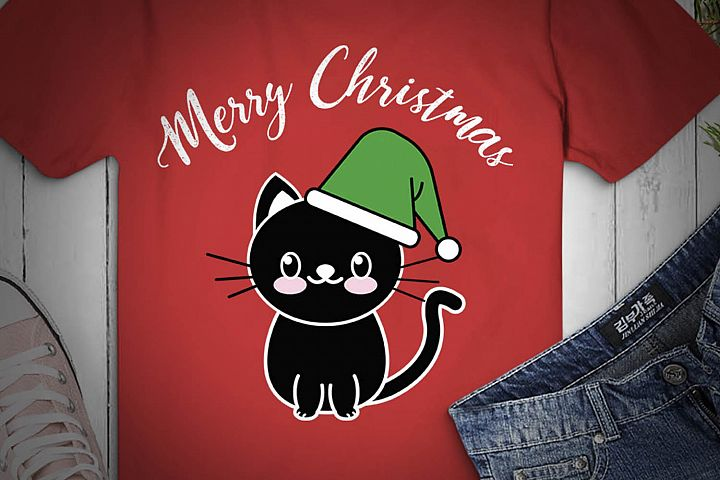 CAT SVG XMAS, Cat Christmas, black cat, cat happy christmas