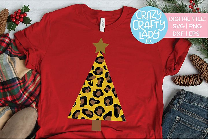 Leopard Print Christmas Tree SVG DXF EPS PNG Cut File