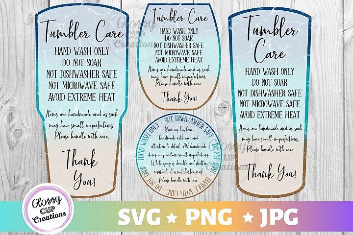 Tumbler Care Card Pack, PNG, Print and Cut, Beach Design
