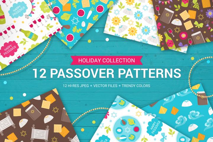 12 Passover Seamless Patterns