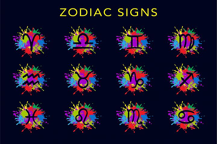 Zodiac signs with colorful splashes