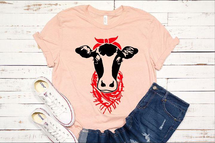 Cow Head whit Bandana and scarf SVG cowboy Farm 1269s