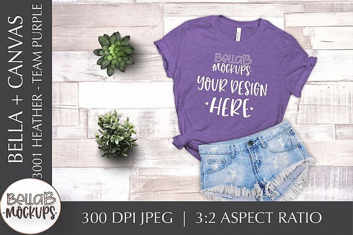 Bella Canvas 3001 Heather Womans T Shirt Mockup-Team Purple