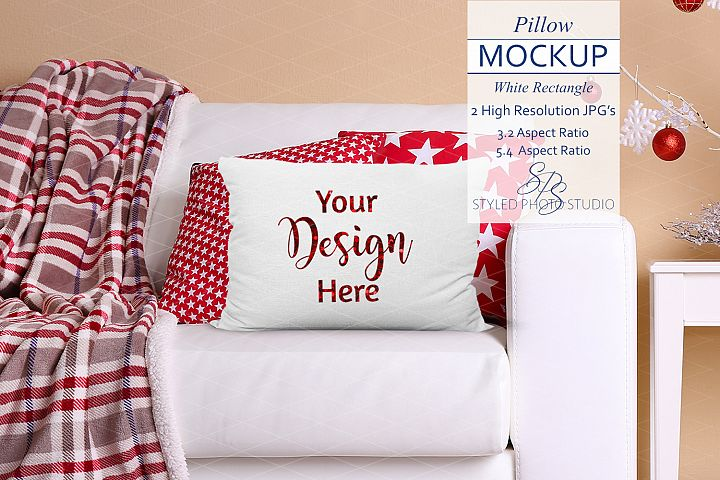 Rectangle Pillow Mockup Christmas Farmhouse 3.2 & 5.4 Aspect