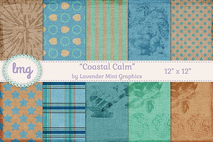 Beach Summer Nautical Digital Scrapbooking Paper