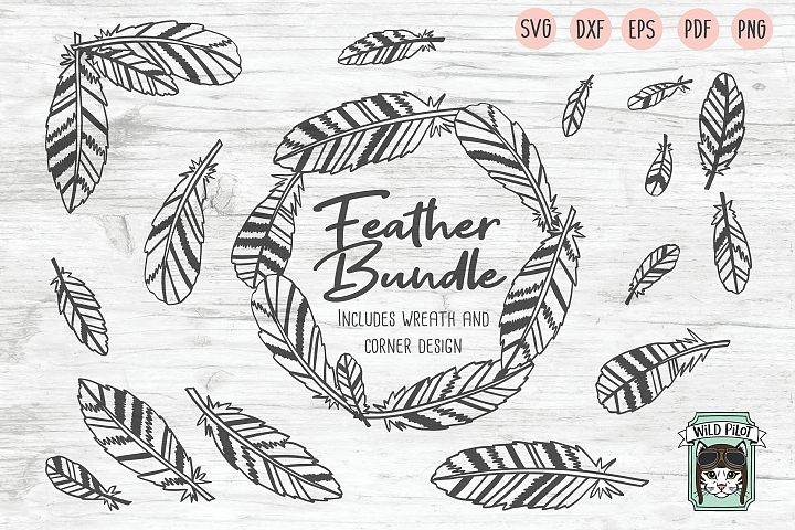Feathers SVG file Bundle, Boho Feather Wreath cut file