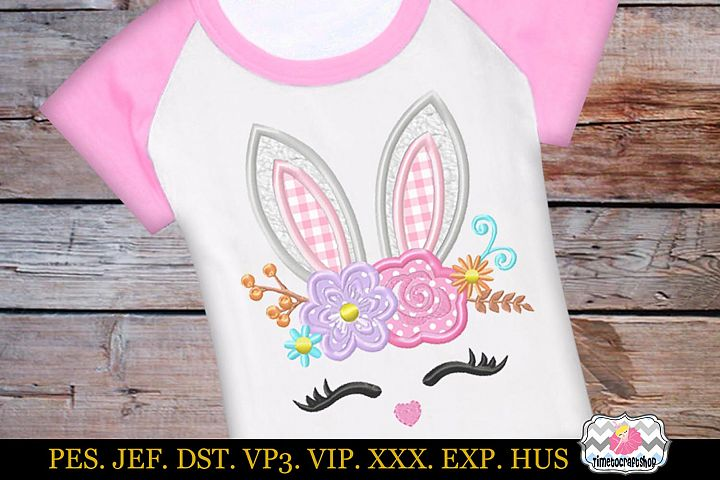Easter bunny face with Rose and Daisies Applique Design