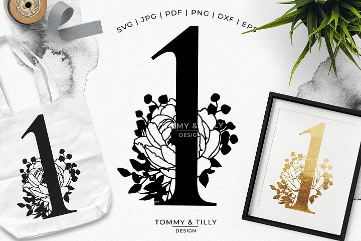 1 - Floral Bouquet Number Design - Paper Cut SVG EPS DXF PNG
