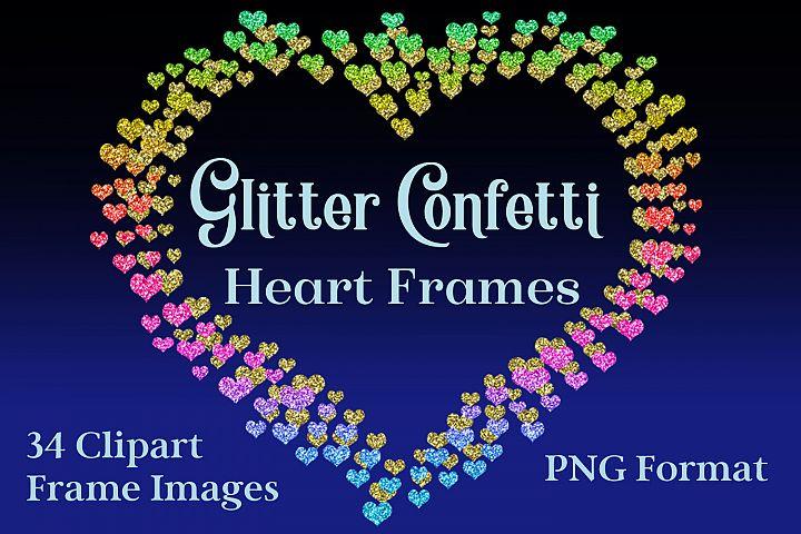 Glitter Confetti Heart Frames - Clipart Objects