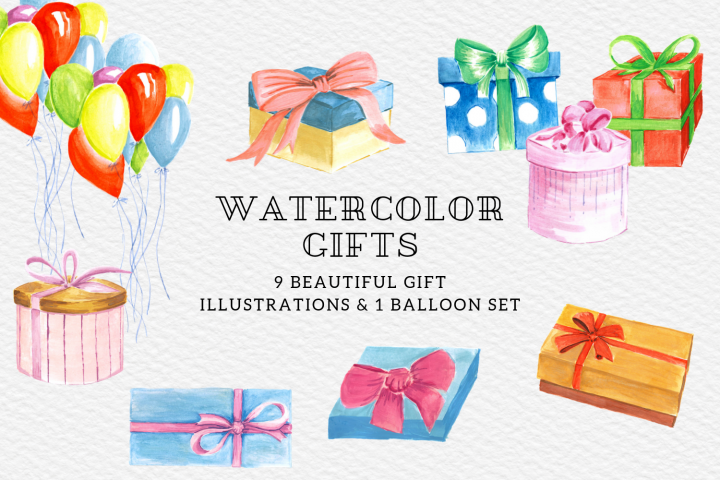 Christmas Gifts Illustrations, Watercolor Gift Boxes Present