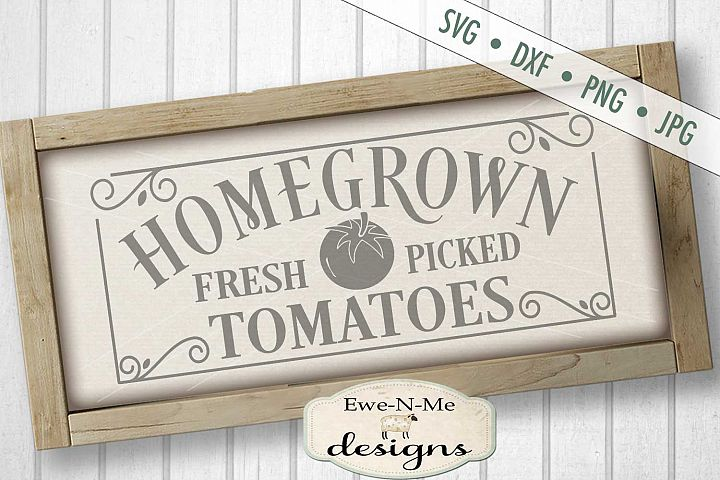 Homegrown Tomatoes Garden Farm SVG DXF File