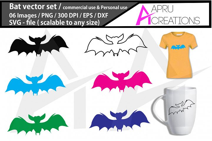 Bat SVG cut file / coloured bat cut file / commercial use