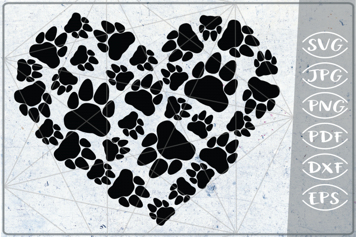 Bear Paws Print Heart SVG Cutting File - Love Paw Heart SVG