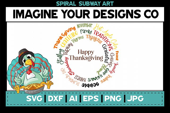 Thanksgiving Spiral Subway Art, SVG Cut File Sublimation