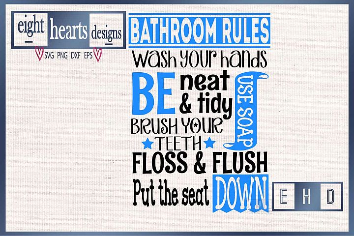 Bathroom Rules - Subway Style - SVG // PNG // EPS // DXF