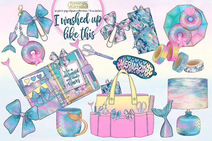 I washed up like this - mermaid planner clipart collection