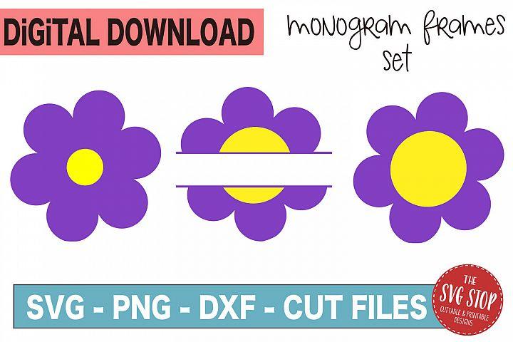 Flower Monogram Frames - SVG, PNG, DXF