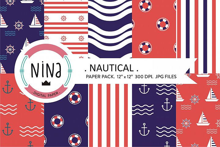 Navy digital paper, Nautical wrapping paper, Navy papers