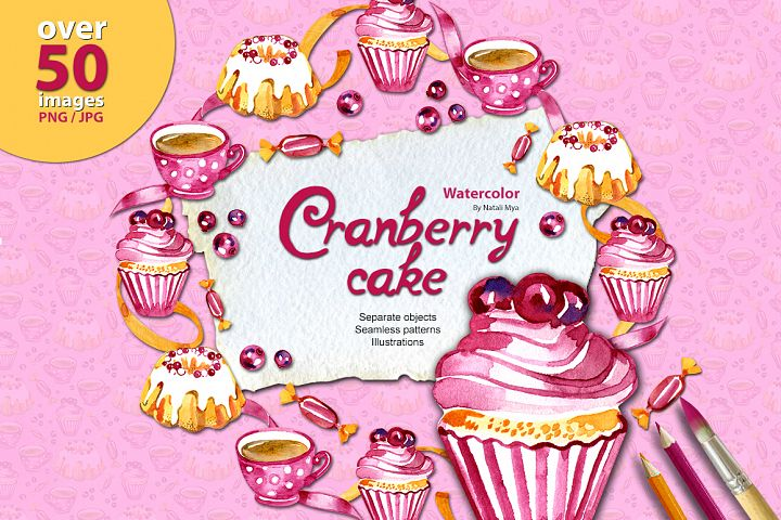 Cranberry cake - watercolor set
