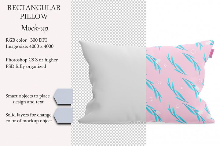 Rectangular pillow mockup. Front view. Product mockup.