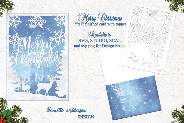 5x7 Merry Christmas card with Reindeer & Snowflake topper