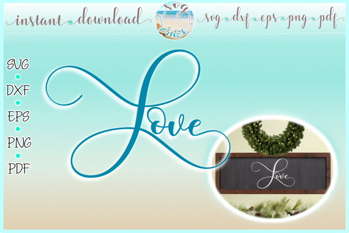 Love Horizontal Wood Sign SVG Dxf Eps Png PDF