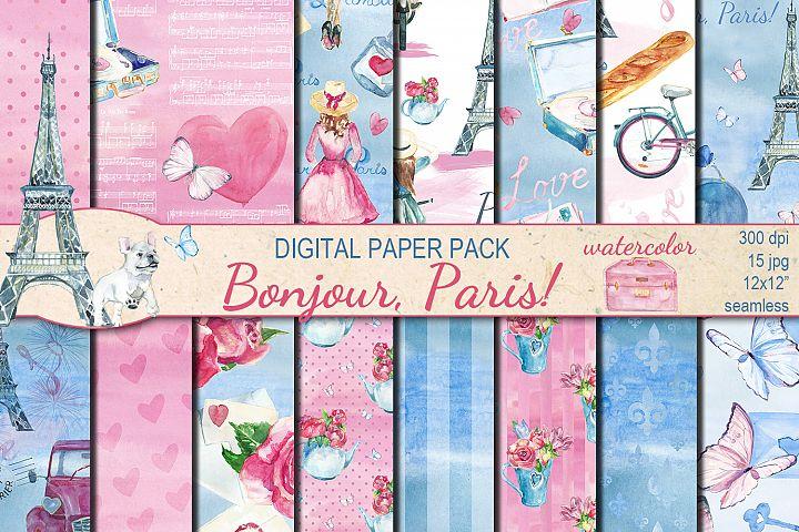 Watercolor Bonjour Paris seamless digital paper pack