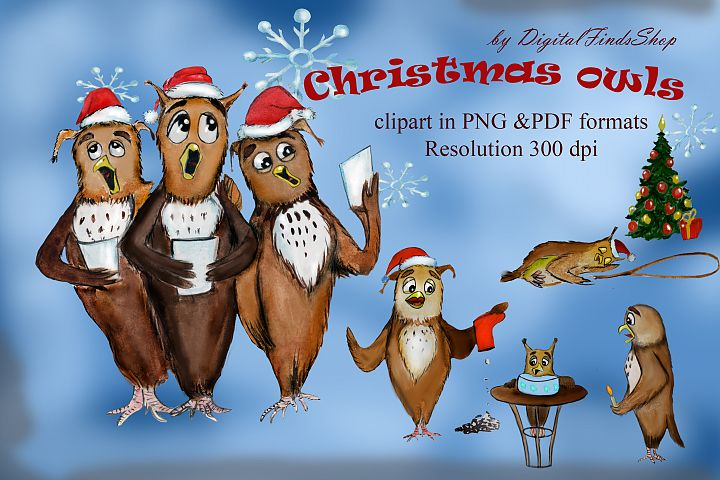 Owl clipart, fun owls, christmas owls, christmas songs