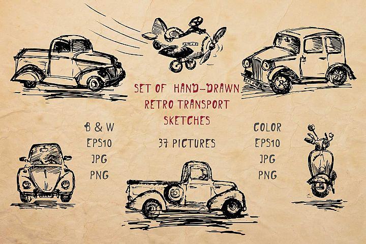 Set of hand-drawn retro transport ink sketches