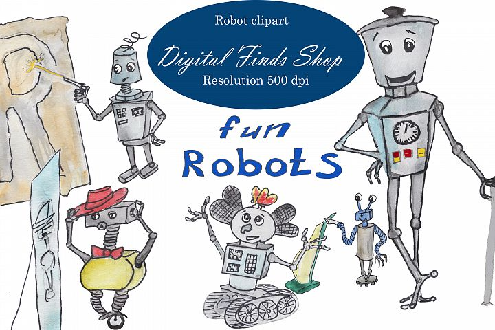 fun robots in watercolor and vector for cricut