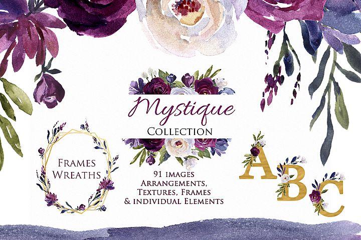 Plum, Burgundy & Indigo Floral Clip Art - Watercolor Flowers