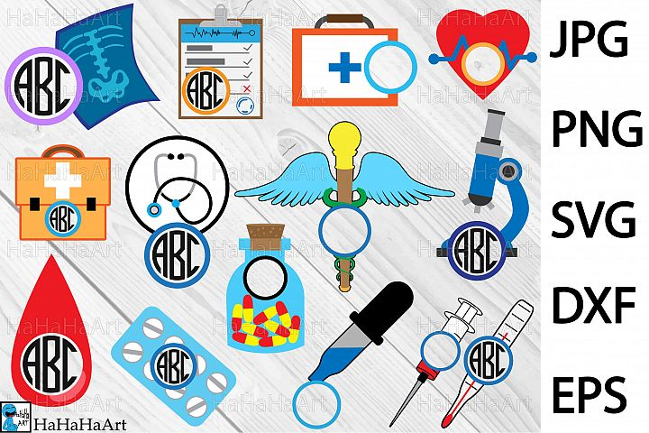 Circle Doctor and Medical - Clip art / Cutting Files 97c