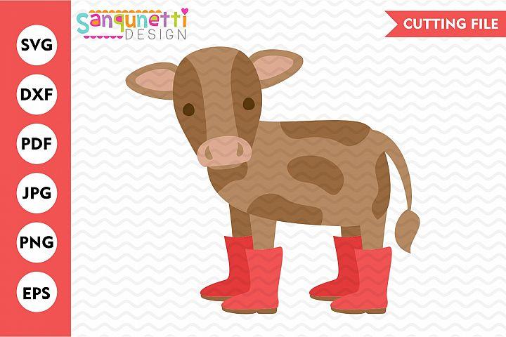 Farm cow svg, spring farmhouse cutting file, baby cow svg
