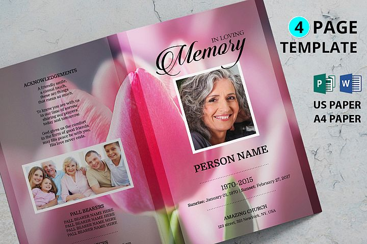Pink Tulip Funeral Program Template