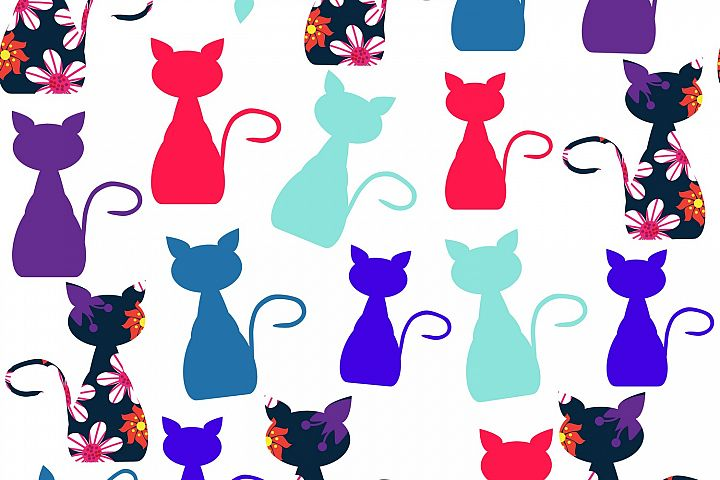 Cats seamless pattern in vector