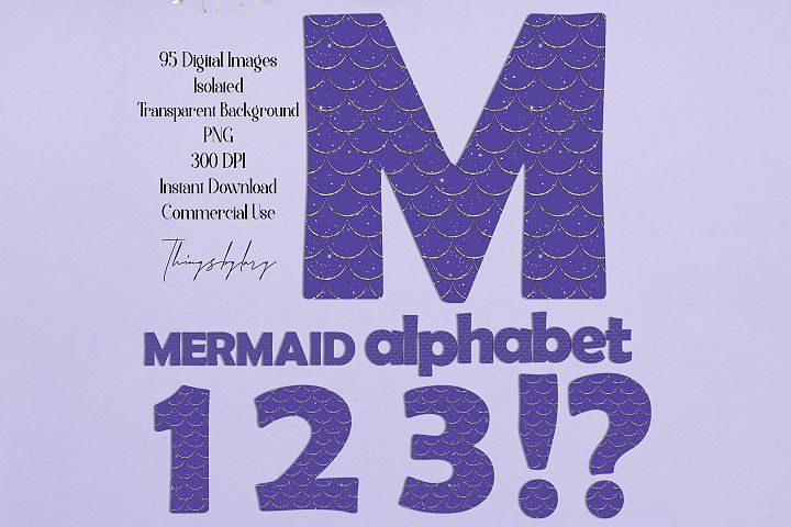 95 Purple Mermaid Scale Gold Glitter Alphabet Number NOTFONT