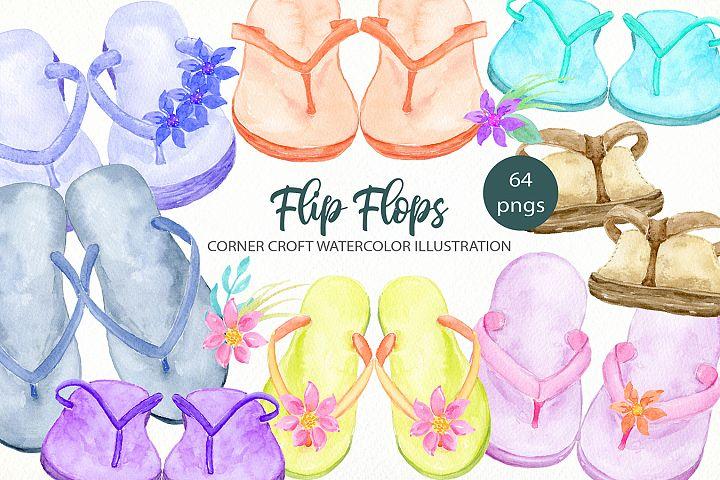Watercolor flip flops clipart for instant download