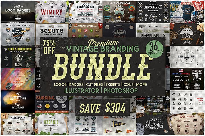 Mega Bundle! SVG Vintage Branding Bundle Cut Files Designs