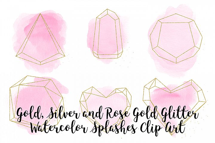 Gold, Silver and Rose Gold Crystals with Pink Watercolor