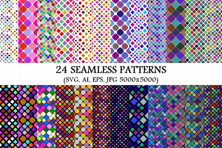 24 Seamless Colorful Square Patterns