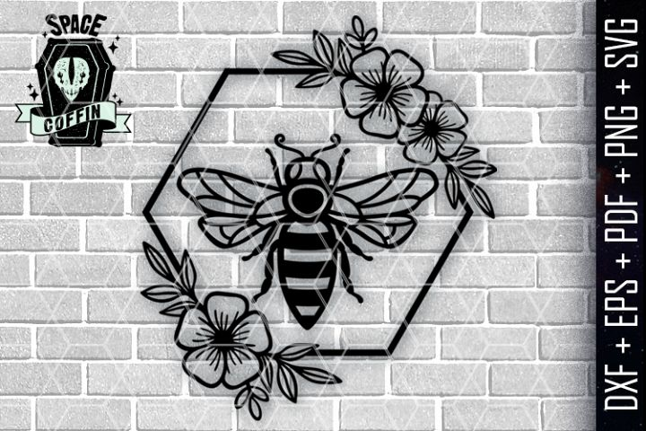 Queen Bee floral Wreath Vector dxf eps pdf png svg files