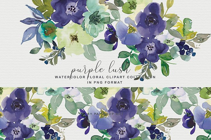 Purple Turquoise Watercolor Flowers Clipart Collection