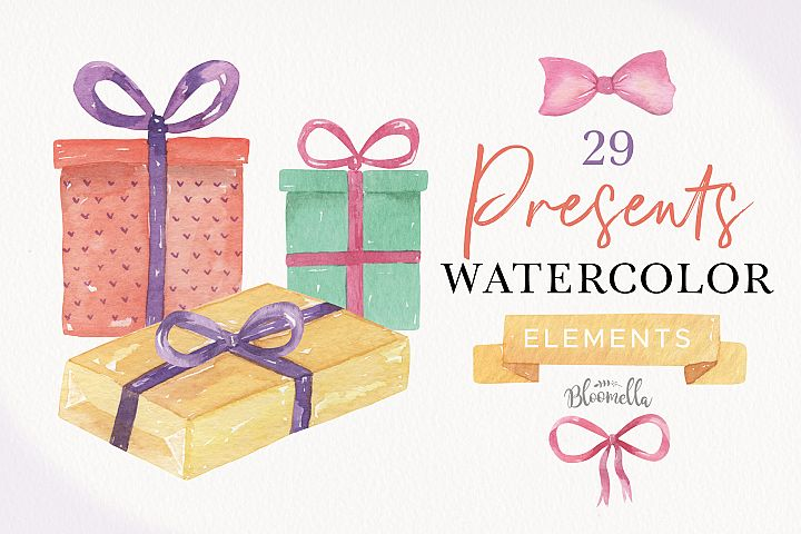 Watercolor Presents Gifts Clipart Elements Tags Banners Bows