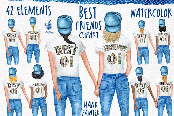 Watercolor best friends clipart, Planner Girls Clipart
