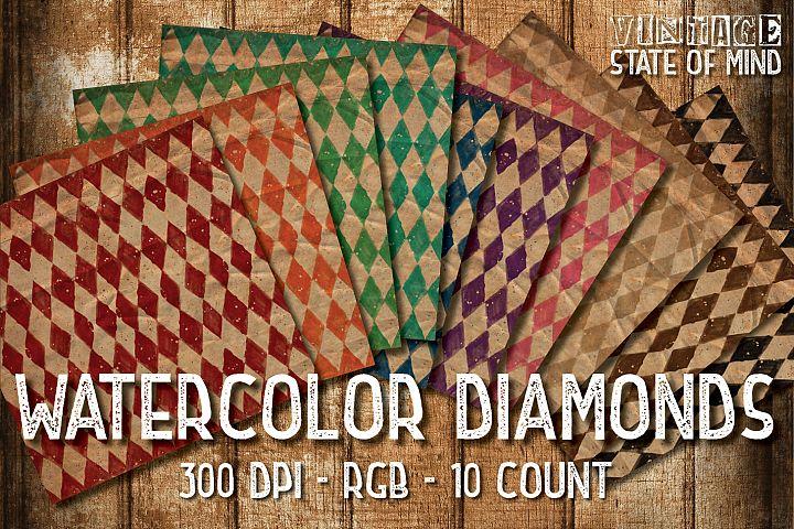 Watercolor Diamonds Digital Papers