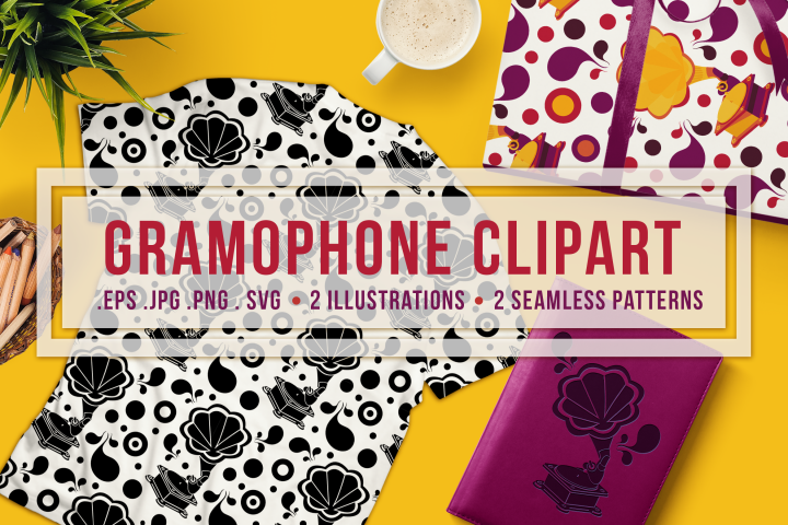 Retro Gramophone Clipart And Seamless Patterns