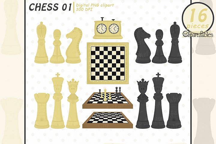 Cute CHESS clipart, Sport clipart for kids, INSTANT download