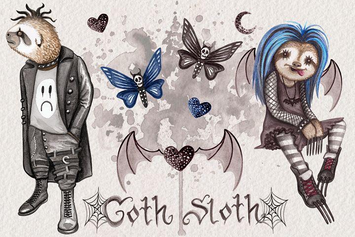 Goth Sloths Watercolor Clip Art