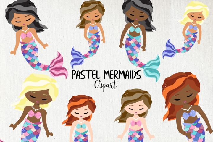Pastel Mermaids Clipart